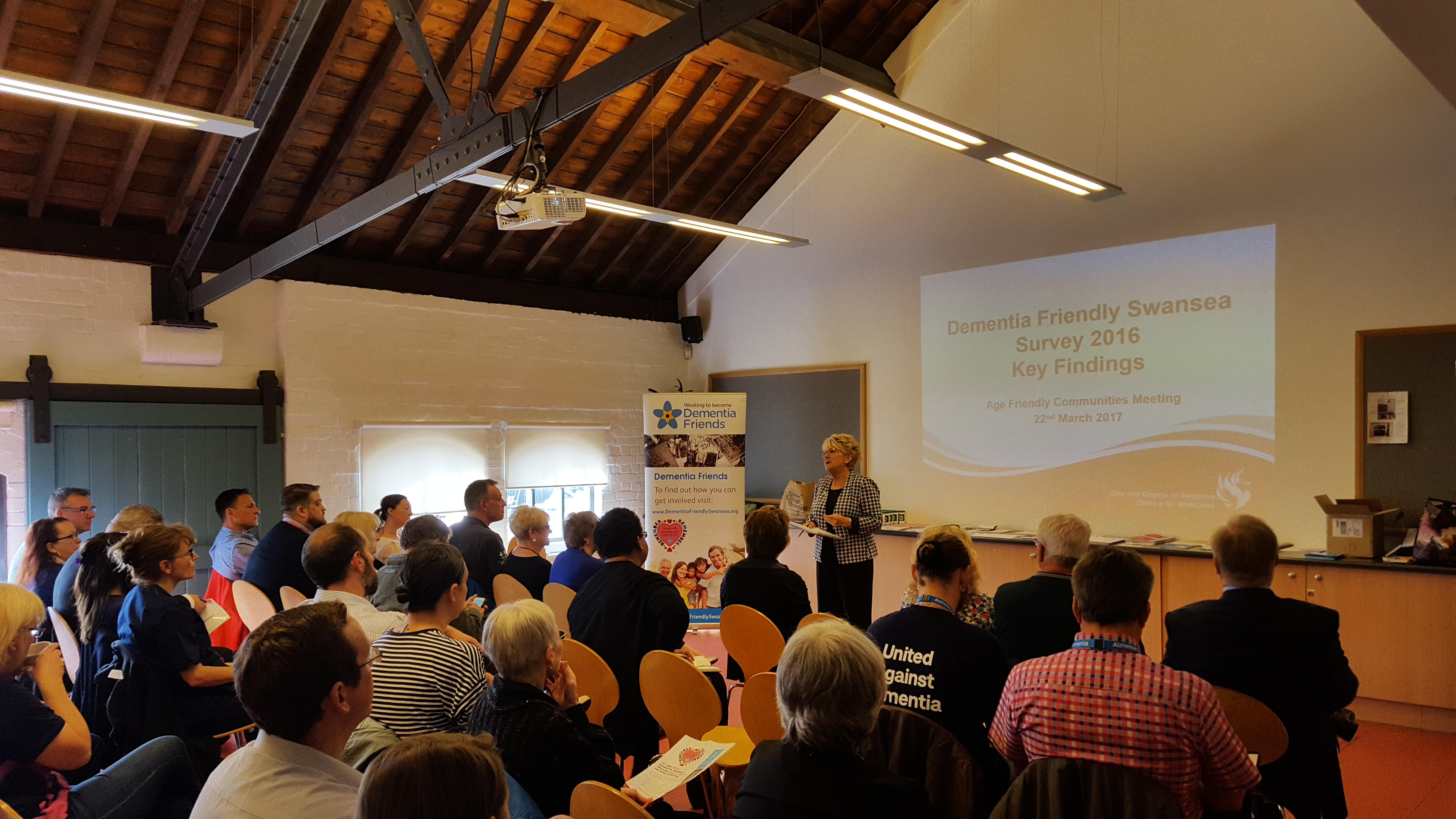 Lesley Abbott, Chair of the Dementia Friendly Swansea Forum opening the meeting